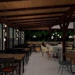 Restaurante Casa do Chico Adegas rústicas por Bruna Schumacher - Arquitetura & Interiores Rústico Madeira Efeito de madeira