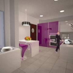 Proyecto Diseño y Decoración de Interiores Casa Habitación Pirámide Ecatepec: Cocinas pequeñas de estilo  por Arquitectura y Aires de Mexico