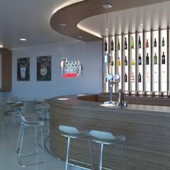 DISEÑO BAR MODERNO 3D: Bares y Clubs de estilo  de VURPURA INSTALACIONES COMERCIALES