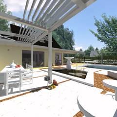 extension d'une maison par une nouvelle salle de séjour: Terrasse de style  par A.FUKE-PRIGENT ARCHITECTE,