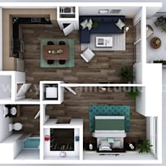 Small New Style One Bedroom Apartment floor plan design company by architectural visualisation studio, Dallas – USA:  Floors by Yantram Architectural Design Studio