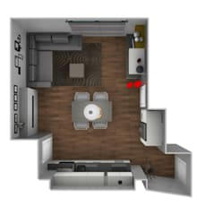 L&M design di Marelli Cinziaが手掛けた小さなキッチン, モダン 木材・プラスチック複合ボード