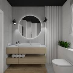 Łazienka z czarnym sufitem: styl , w kategorii Łazienka zaprojektowany przez SPATIO PROJEKTOWANIE WNĘTRZ