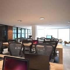 인더스트리얼 서재 / 사무실 by PLARIST 인더스트리얼 콘크리트