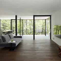 060軽井沢Kさんの家: atelier137 ARCHITECTURAL DESIGN OFFICEが手掛けたリビングです。,モダン 木 木目調