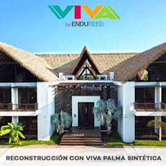 CAMBIOS DE TECHOS DE PALMA NATURAL A VIVA PALMA SINTÉTICA.: Hoteles de estilo  por GLOBAL INNOVATION