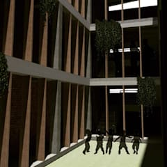 CENTRO DE DESARROLLO ESTUDIANTIL C-C: Jardines de estilo  por CAJA Arquitectos