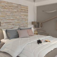 Casa Roncato 12146, San Marino, Tijuana B.C. Mexico: Recámaras pequeñas de estilo  por URBAO Arquitectos