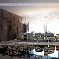Gold Luxe Interior:  Dining room by 7WD Interior Design Studio,Modern