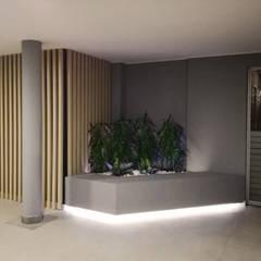 LOBBBY ALTOS DE LA 15: Jardines de piedra de estilo  por EMME ARQUITECTURA S.A.S., Moderno
