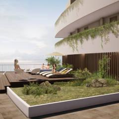 IROTAMA BAHIA: Terrazas de estilo  por CAMPUZANO ARQUITECTOS, Moderno