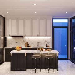 THIẾT KẾ BIỆT THỰ TÂN CỔ ĐIỂN VỚI PHÒNG KHÁCH - BẾP LIÊN THÔNG:  Nhà bếp by ICON INTERIOR