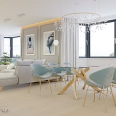 Część dzienna - dom Moskorzew: styl , w kategorii Jadalnia zaprojektowany przez Polilinia Design,