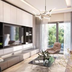 """Vivienda departamento """"Gallardo"""": Salas / recibidores de estilo  por 1:25 Studio, Mediterráneo"""