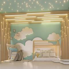 DORMITORO CIELO AZUL: Recámaras para niños de estilo  por Arquitecta Ana Belen, Moderno Madera Acabado en madera