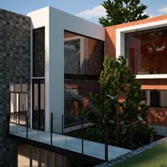 CASA 2 PUENTES: Casas de campo de estilo  por Mixture Arquitectos, Moderno Ladrillos