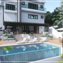 Piscinas desbordantes de estilo  por Juan Jurado Arquitetura & Engenharia