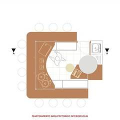 DISEÑO PUNTO DE VENTA LA CHOCOLATERÍA: Locales gastronómicos de estilo  por Paula Rave Interiorismo, Moderno