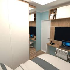 Dormitório Masculino 9m2 : Quartos pequenos   por Fareed Arquitetos Associados,Moderno