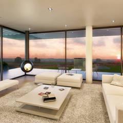 CASA PCS1- Moradia em Tavira - Projeto de Arquitetura: Salas de estar  por Traçado Regulador. Lda,Moderno Madeira Acabamento em madeira