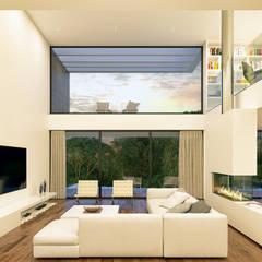CASA LS1 - Moradia em Cascais - Projeto de Arquitetura: Salas de estar  por Traçado Regulador. Lda,Moderno Madeira Acabamento em madeira