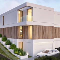 CASA C&J - Moradia em Cascais - Projeto de Arquitetura: Moradias  por Traçado Regulador. Lda,Moderno Madeira Acabamento em madeira