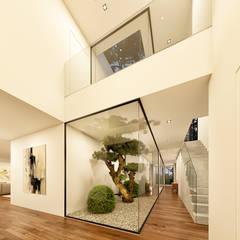CASA BL1 - Moradia na Herdade da Aroeira - Projeto de Arquitetura Corredores, halls e escadas modernos por Traçado Regulador. Lda Moderno Madeira Acabamento em madeira