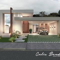 Fachada em Linhas retas por Celis Bender Arquitetura e Interiores Moderno Concreto