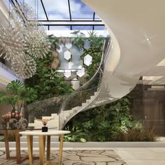 Modern House, Lusaka, Zimbabwe :  Corridor & hallway by Spegash Interiors,