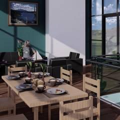 La casa 10 : Salas / recibidores de estilo  por Arq. Bruno Agüero