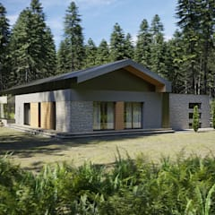 Casas pequeñas de estilo  por Budownictwo i Architektura Marcin Sieradzki - BIAMS, Industrial Arenisca