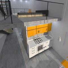 Reconversão de uma garagem em habitação: Cozinhas  por Nuno Ladeiro, Arquitetura e Design,