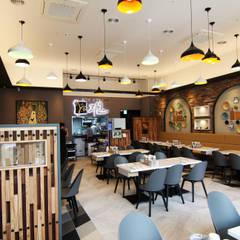 레스토랑 - 라온삼계탕: IDA - 아이엘아이 디자인 아틀리에의  레스토랑,러스틱 (Rustic) 벽돌