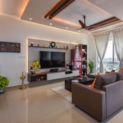 Apartment at The ICON by G-Corp:  Living room by Prop Floor Interiors,Asian Plywood
