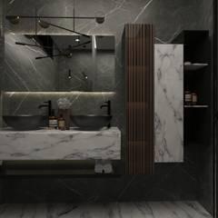 ДИЗАЙН-ПРОЕКТ ЧАСТНОЙ СПА-ЗОНЫ С БАССЕЙНОМ, МОСКОВСКАЯ ОБЛАСТЬ, 110 М²: Ванные комнаты в . Автор – SK Interiors studio, Модерн