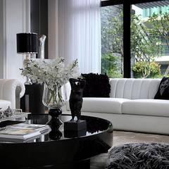 美式新古典風格設計:  客廳 by 大桓設計顧問有限公司
