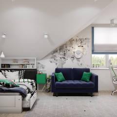 Летнее настроение 2. Мансардный этаж: Спальни для мальчиков в . Автор – Goroh бюро, Модерн