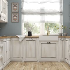 Drewniana kuchnia na wymiar: styl , w kategorii Kuchnia na wymiar zaprojektowany przez Meblo-Wosk,Klasyczny Drewno O efekcie drewna