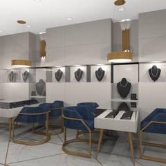 Damla Vurguncu İç Mimarlık – SERKAN KUYUMCULUK & MÜCEVHERAT:  tarz Dükkânlar, Modern Ahşap Ahşap rengi