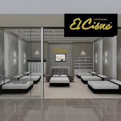 """Concept Store de """"Colchones El Cisne"""" ☑. Local Mall Plaza - Bellavista: Oficinas y Tiendas de estilo  por Jorge Levano,"""