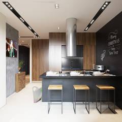 Минимализм с элементами лофта: Встроенные кухни в . Автор – «Студия 3.14»,