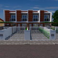 Projeto de fachada - CASAS GEMINADAS por Jr Arquitetura + interiores Moderno