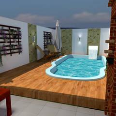 Kolam renang halaman oleh Jr Arquitetura + interiores, Modern