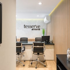 ESCRITÓRIO TESSERVE: Lojas e imóveis comerciais  por RENATA LORA DE BEM ARQUITETURA,