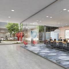 Modern Large Office Interior & Exterior Design Ideas by Walkthrough Architectural Design Studio, Dublin – Ireland:  Corridor & hallway by Yantram Architectural Design Studio, Classic