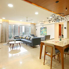 Lodha Belmondo:  Living room by Area Planz Design,Modern