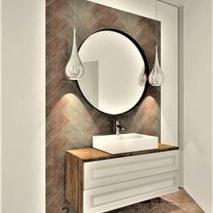 Phòng tắm phong cách thực dân bởi Wkwadrat Architekt Wnętrz Toruń Thực dân Đồng / Đồng / Đồng thau