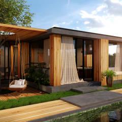 RENDERS - CUBICA RESIDENCE CLUB : Casas de madera de estilo  por Renders Varinia Vilchis, Moderno Madera Acabado en madera