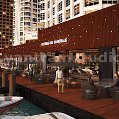 360 Panoramic Water side Restaurant Exterior & Interior View of Virtual Reality Real Estate Companies by Architectural Modeling Firm, New York - USA by Yantram Architectural Design Studio 클래식