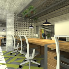 Industrial style offices & stores by De León Profesionales Industrial